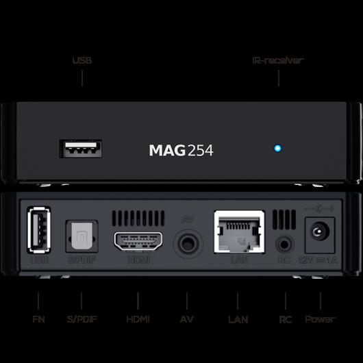 MAG254 Linux IPTV/OTT Box / 1080p Video / RAM 512 MB / 650 MHz media processor / HDMI 1.4 interface / Linux 2.6.23 / USB 2.0