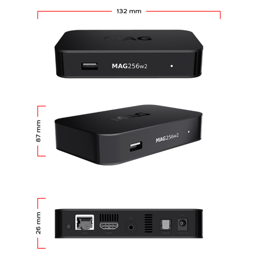 MAG256w2 Linux IPTV/OTT Box / Built-in WiFi 2.4 GHz ; 5.0 GHz / 1080p Video / RAM 1 GB / 1500 MHz media processor / HDMI 1.4 interface / Linux 3.3 / USB 3.0