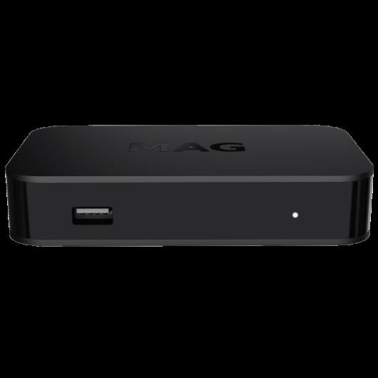 Box Premium IPTV+OTT MAG420 / Compatibilité 4K et HEVC / Linux 4.4 OS / 512 Mo de RAM / CPU 1200 MHz / Plateforme multi-écrans Ministra TV