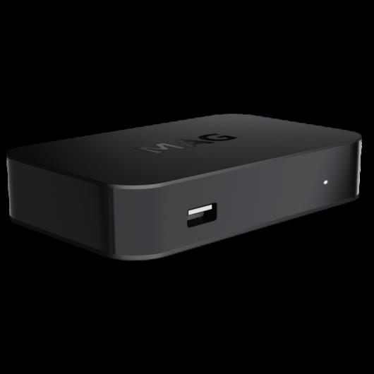 Premium IPTV+OTT Set-Top-Box MAG420w1 / Geeignet für 4K und HEVC / Betriebssystem Linux 4.4 / 512 MB RAM / WLAN integriert / CPU 1200 MHz / Ministra TV-Plattform